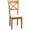 "Wooden dining room Chair w/ fabric: ""X"" back"
