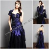 Navy Blue Taffeta Evening Dresses/Gowns With Short Sleeve Bolero and Tafeta Scarf YBED-0008