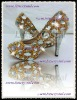 new wedding gold color jewelry & clear swarovski crystal high heel pumps 10cm heel