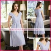A-Line V-neck lilac chiffon cocktail dresses cd0078