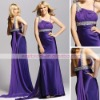 Unique purple satin a-line One-shoulder rhinestone accented chiffon drapped gorgeous prom dresses bg0150