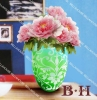 BH070620 sandblasting mouth blown vase gradual changed color with flower pattern.