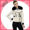 Women fashion newest winter leather down coat with raccoon collar CF-1070