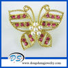 Hollow Out Butterfly Brooch Pin Gold Tone With Crystal