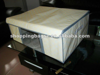 PP non-woven big white storage boxes with cardboard