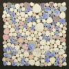 POP005 heart shaped art pattern tile porcelain pebble tile mix color cream blue pink porcelain pebble tile