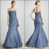 Favorite strapless bodice natural floor length satin chiffon ruffle fishtail evening dress