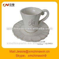 Super white ceramic tea cup and saucer