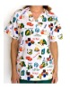 Printed V-neck Scrub Top