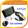 "2.4G Wireless car rear view kits 3.5"" HD digital TFT LCD monitor+Mini flush mount car back up camera with 18.5mm diameter"