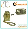 metallic pu wrist phone pouch with compartment