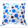 blue dot printed canvas pillow cover