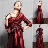 Elegant Plus Size Burgundy Cocktail Dresses With Long Sleeves Bolero YBED-0012