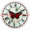Top Sellers! D30cm! Round cheap glass hanging wall quartz antique butterfly fancy clocks