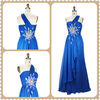 2013 Blue Fashion Beaded One-Shoulder Pleat Floor-Length Sleeveless Chiffon Evening Dress MY-12156