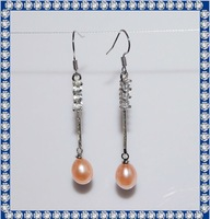 2012 8mm drop AA ladies natural pearl earrings