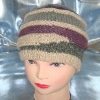 hand-knitted beanie, knitted hat, fuzzy winter hat