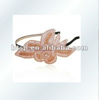 2012 dazzling flower crystal design various beaded hair accessories rhinestone mini hair clip