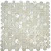 pure white shell mosaic round