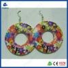 Red flowers wooden printing ring earrings