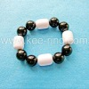 Jet Black Crystal and Pearl Stretch Bracelet Jewelry- WCT-014