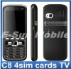 Hot sale!! Quad band C8 4sim cards TV Mobile Phone with LoudSpeaker