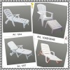 PP plastic sun lounge white chair beach chair