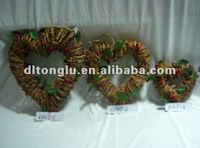 Heart rattan garland with green leaves decorated in any sizes