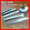 (KFS-6300) 4-in-1 Hold Together Outdoor Travel Camping Utensil Set Knife, Fork, Spoon, Can & Bottle Opener