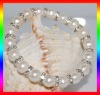 AA 9-10mm metal and pearl bracelet PB045