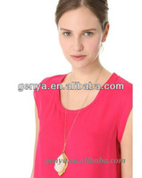 New drop necklace with real feather and metal chain Leaf Necklace Fashion Jewelry