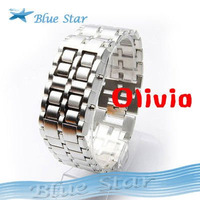 Men Women LED LED Watch Iron Samurai Metal Bracelet Watches -- WH12 Wholesale
