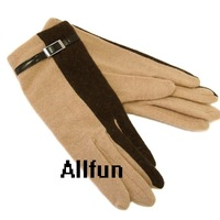 Soft Wool Blended Gloves with Leather Belt for Winter or Autum Fashion