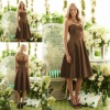 AS 6553 New Arrival Sweeheart Strapless Brown Satin Bridesmaid Knee Length Dresses