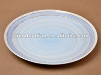 "10.25"" ceramic dinner plates, white body with blue line decoration"