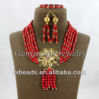 Fashion Design Red Coral Rows Set New Handmade Coral Bib Necklace/Dangling Earrings Set