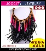 bib statement necklace with feather