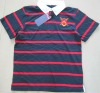 Stripe 100% cotton 18ogrs red and navy men's polo shirts with plain white collar shirt