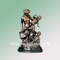 Mother and children bronze statue