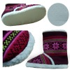 fleece boots&jacquard upper/lamb fleece lining/PVC dotted out sole