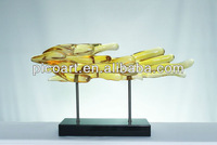 yellow color of transparent resin sculpture