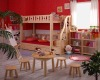 kids wooden bunk bed with study table