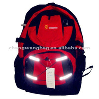 red reflective stripe school backpack