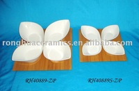 4 Fine Porcelain Leaf-Shaped Dishes And Wood
