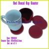Red Color Round Sealed Edge Faux Leather Cup Coaster with Case