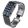 New LED Black Digital Lava Wrist Watch Iron Samurai Metal Blue LED Faceless Wrist Watch Men's Sports Watch