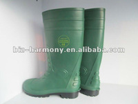 Green PVC industrial safety boots