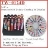 (TW-0124D) Tweezers Girl Shaped Coating 24Pcs Display Set