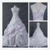 White satin Ball gown pleat halter neck wedding dress