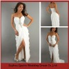 LED242 Custom Made White Beaded Split Ruffled Strapless Sweetheart Floor Length 2 Pieces Evening Dress Patterns